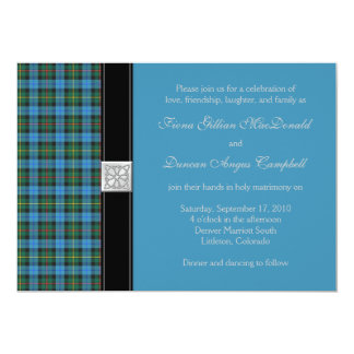 Ancient Smith Blue Tartan Wedding Invitation