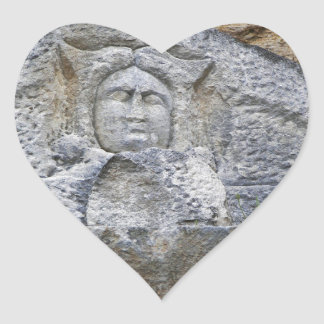 Ancient Stone Carving Heart Sticker
