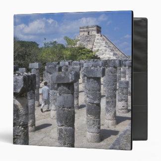 Ancient Stone pillars in Chichen Itza. Central Binder