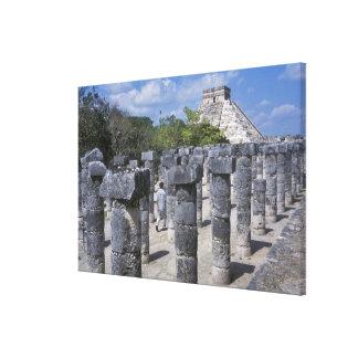 Ancient Stone pillars in Chichen Itza. Central Canvas Print