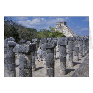 Ancient Stone pillars in Chichen Itza. Central Greeting Card