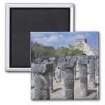 Ancient Stone pillars in Chichen Itza. Central Magnets