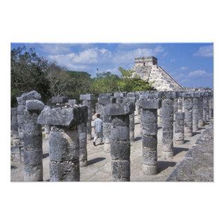 Ancient Stone pillars in Chichen Itza. Central Photographic Print