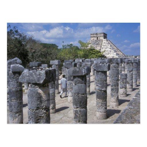 Ancient Stone Pillars : Ancient stone pillars in chichen itza central postcard