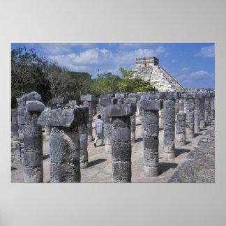 Ancient Stone pillars in Chichen Itza. Central Poster