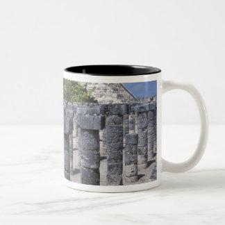 Ancient Stone pillars in Chichen Itza. Central Two-Tone Coffee Mug