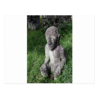 Ancient stone statue Lake Toba Sumatra Postcard