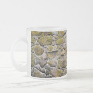 Ancient stone wall frosted glass coffee mug