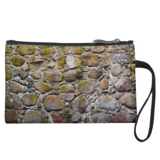 Ancient stone wall suede wristlet wallet