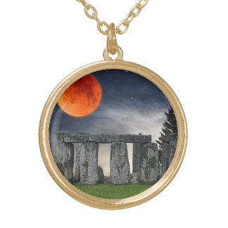 Ancient Stonehenge & Mystical Red Full Moon Round Pendant Necklace