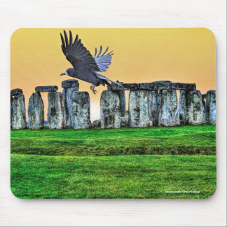 Ancient Stonehenge & Rook Corvid-lover's Gift Mouse Pad