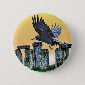 Ancient Stonehenge & Rook Corvid-lover's Gift Pinback Button