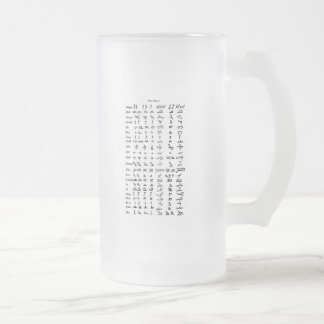 Ancient Syrian Alphabet Frosted Glass Beer Mug