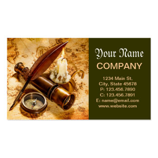 Ancient telescope and navigation charts business cards