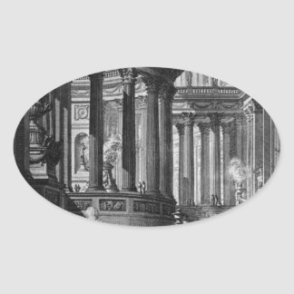 Ancient temple invented and designed in the manner oval sticker