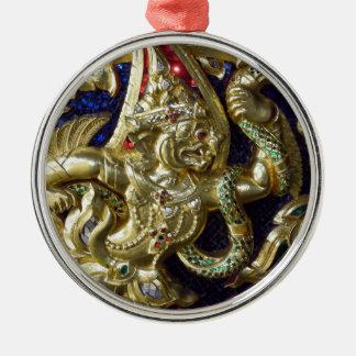 ANCIENT THAILAND METALLIC MURAL ROUND METAL CHRISTMAS ORNAMENT