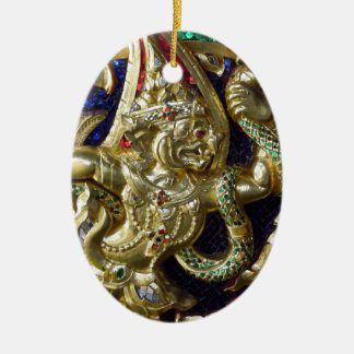ANCIENT THAILAND METALLIC MURAL Double-Sided OVAL CERAMIC CHRISTMAS ORNAMENT