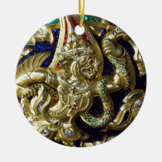 ANCIENT THAILAND METALLIC MURAL Double-Sided CERAMIC ROUND CHRISTMAS ORNAMENT