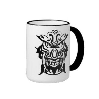 Ancient Tiki Face Mask Ringer Coffee Mug