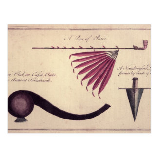 Ancient tomahawk, peace pipe and dagger, c.1590 postcard