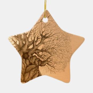 Ancient Tree Drawing Ceramic Ornament