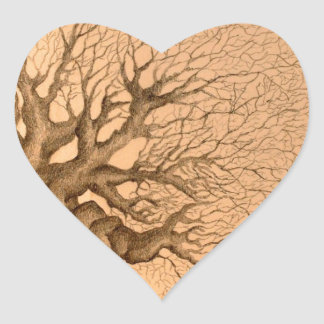Ancient Tree Drawing Heart Sticker