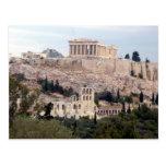 ancient view acropolis postcard