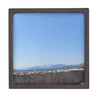Ancient wall and windmill with seascape jewelry box