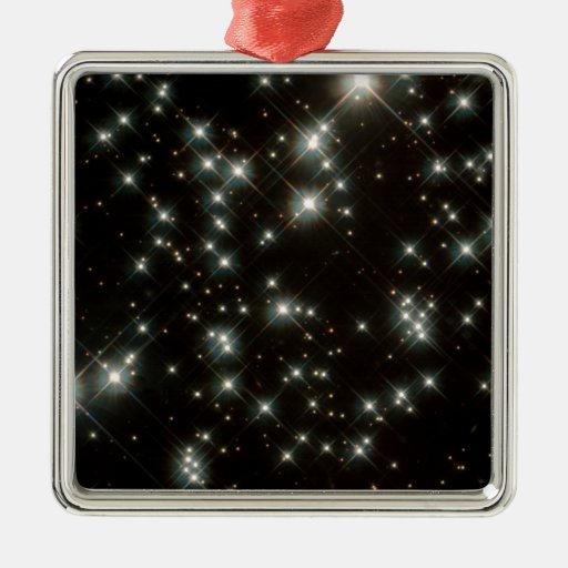 Ancient White Dwarf Stars In The Milky Way Galaxy Square Metal Christmas Ornament