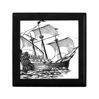 ancient wood ship in water jewelry box