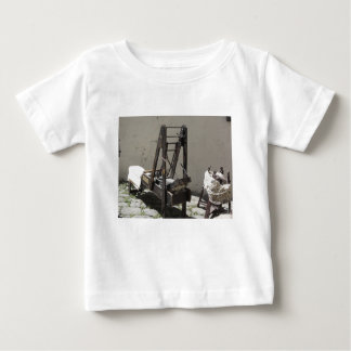 Ancient wool carding machine and raw wool yarn baby T-Shirt