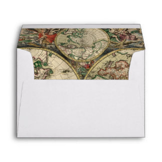 Ancient World Map Lined Custom Envelope