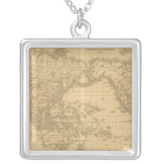 Ancient World Map Silver Plated Necklace