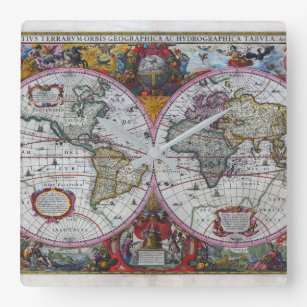 Vintage world atlas maps wall clocks zazzle ancient world map square wall clock gumiabroncs Gallery