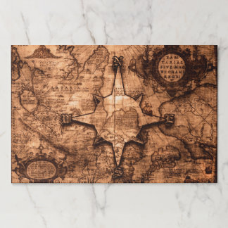 Ancient World Traveler - Map & Compass Rose Paper Placemat