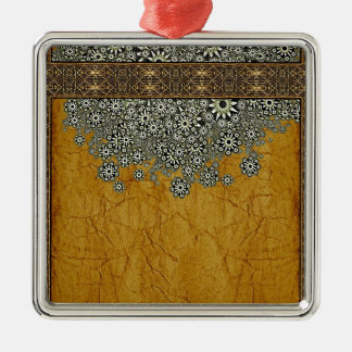 Ancient Worlds Decorative Graphic Square Metal Christmas Ornament