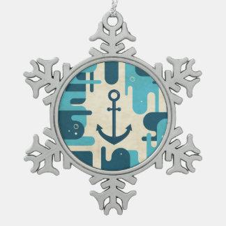 Ancla abstracta náutica adorno de peltre en forma de copo de nieve