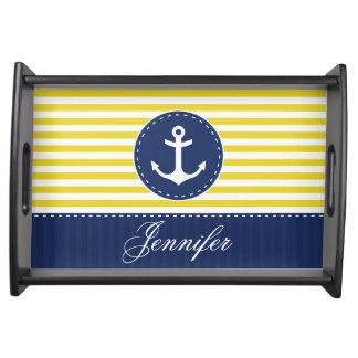 Ancla amarilla azul náutica elegante personalizada bandeja
