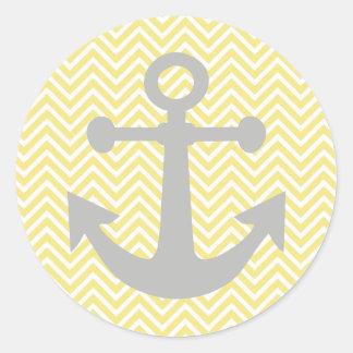 Ancla amarilla del gris de Chevron Pegatinas Redondas