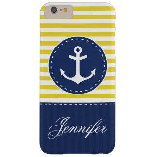 Ancla amarilla del modelo de los azules marinos funda de iPhone 6 plus barely there