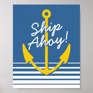 Ancla amarilla náutica del barco de la decoración  posters