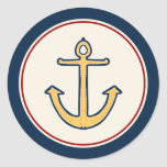 Ancla amarilla náutica etiquetas redondas