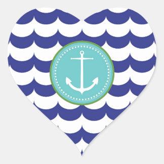 Ancla azul con el modelo de ondas pegatina en forma de corazón