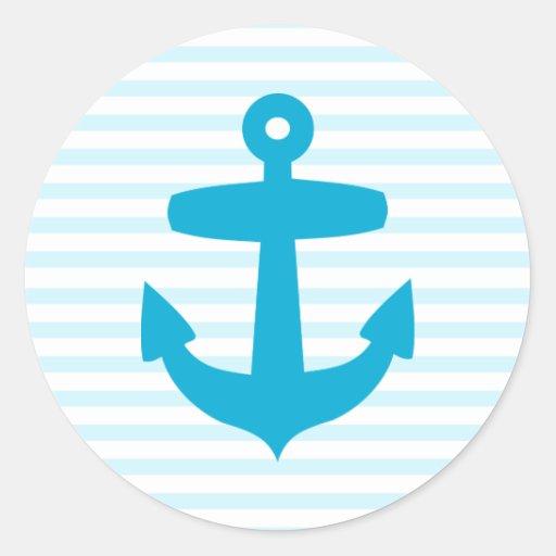 Ancla azul con las rayas azules claras del mariner etiquetas