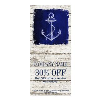 ancla azul de madera de la deriva rústica moderna tarjeta publicitaria