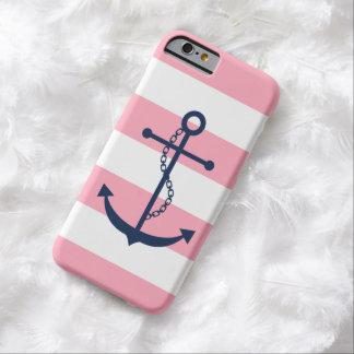 Ancla azul en modelo rosado de las rayas funda para iPhone 6 barely there