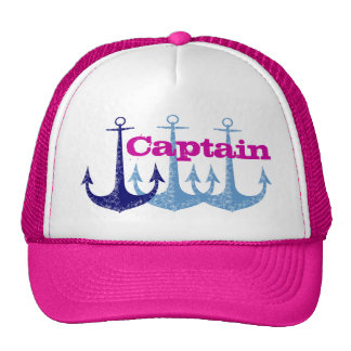 Ancla azul, femenina, capitán, personalizado gorros bordados