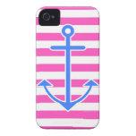Ancla azul náutica rosada iPhone 4 carcasa