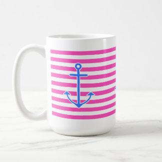 Ancla azul náutica rosada tazas de café