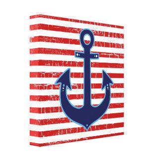 ancla azul rayada roja del marinero impresion de lienzo